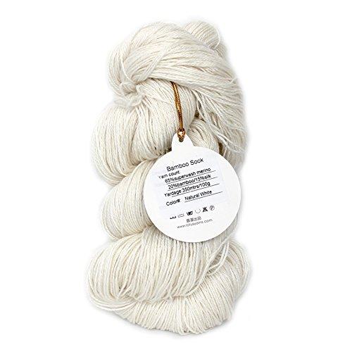 (Lotus Yarns 65% Superwash Merino 20% Bamboo 15% Silk Bamboo Sock Yarn 100g/skein Hand Knitting Undyed Yarns for Artisan Knitting/Crocheting Fashion Graments (1))