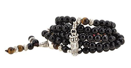 Tibetan Elastic String 6mm Black Simulated Onyx 108 Prayer Beads Yoga Meditation Mala Wrap Bracelet with Removable Charms - Black Turquoise Onyx