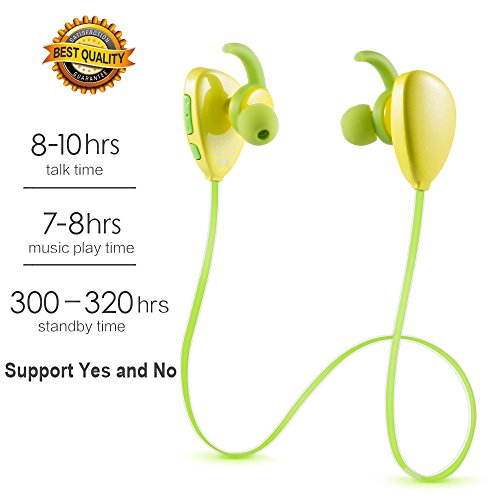 Amazon Lightning Deal 85% claimed: Sweat proof Sports Headphones Extended Battery Life Wireless Earphones Bluetooth Earbuds Headsets (Bluetooth 4.1, Hands-Free Calling ,Hi-Fi Stereo, Build-in Mic, APTX, CVC 6.0 Noise-Cancelling)(Yellow)