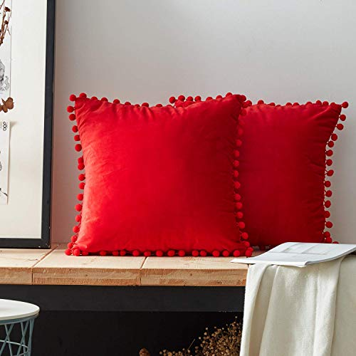 Top Finel Decorative Throw Pillow Covers Soft Particles Velvet Solid Cushion Covers 16 X 16 for Couch Bedroom Car, Pack of 2, Red