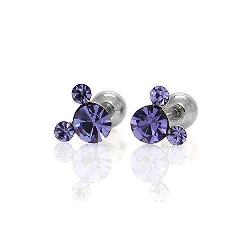 Michey mouse Earrings 4mm Crystal Screw back ball Surgical steel (Violet)