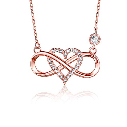 BlingGem Women Rose Gold-Plated 925 Sterling Silver Cubic Zirconia Infinity Heart Pendant Necklace