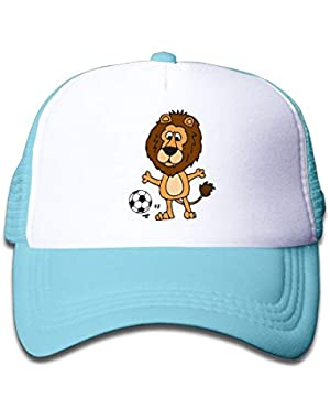 Cute Lion Playing Soccer On Children's Trucker Hat, Youth Toddler Mesh Hats Baseball Cap