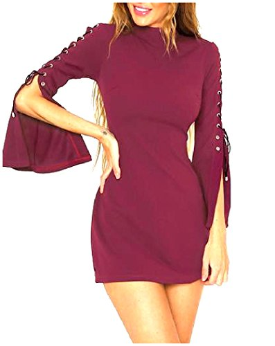 Coolred Slim Bandage Solid Dress Sleeves Mini A Women's As1 line Flare XTTpqwBx