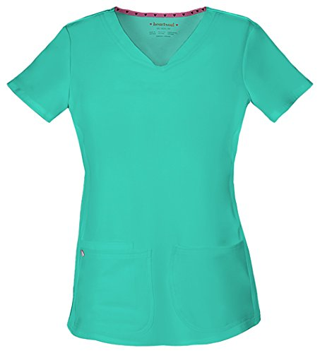 HeartSoul 20710 Women's Pitter-Pat Shaped V-Neck Top Frosted Mint 3X-Large
