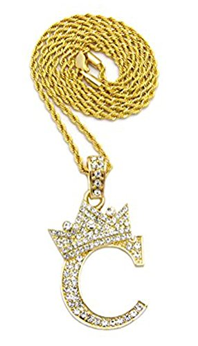 """Iced Out King Crown Alphabet C Pendant 24"""" Various Chain Necklace in Gold, Silver Tone (Gold Tone / 2mm 24"""" Rope Chain)"""