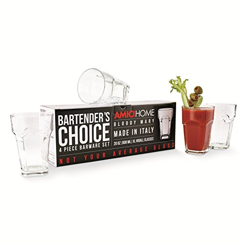 Amici Bartender's Choice Bloody Mary Hiball Glass, 20 oz. - Set of 4