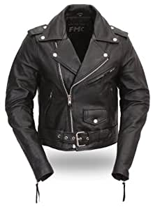 First Manufacturing Women's Classic Motorcycle Jacket (Black, Medium)