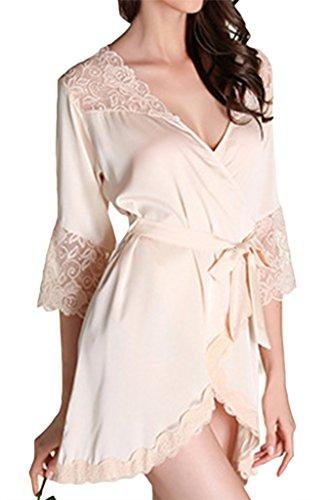 Asherbaby Women's Robes Satin Short Kimono Bathrobe Sexy Lace Lingerie Sleepwear Champagne US S=Tag M