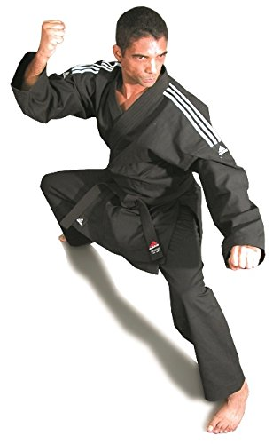 adidas US Star Black Karate Uniforms with White Stripes on Shoulder (140)