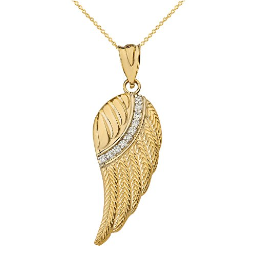 CaliRoseJewelry 14k Yellow Gold Feather Angel Wing Diamond Pendant Necklace - Large, ()