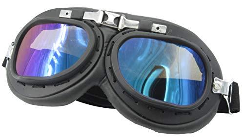 Yarizm Sports Vintage Aviator Pilot Style Goggle, Black Color Padding, Black Color Frame (Multi-Color Lens) (Aviator Kosten)