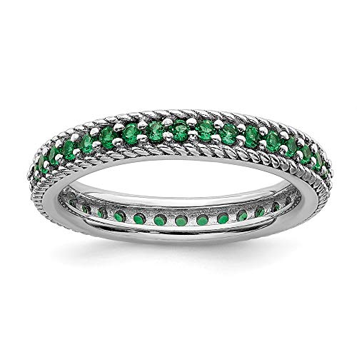 925 Sterling Silver Created Green Emerald Eternity Band Ring Size 7.00 Stackable Gemstone Birthstone May Fine Jewelry Gifts For Women For Her