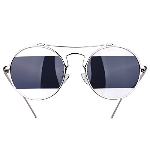 Gold Rice Round Retro Metal Frame Fashion Sunglasses Polarized 400UV Protection Sunglasses for Women and Men - Black Hard Case and Black Drawstring Sleeve Bag - What Are Parts Eyeglasses The Of
