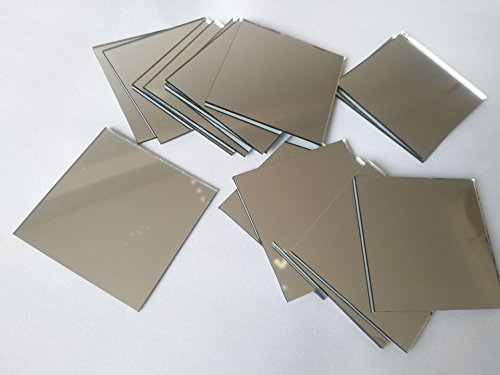30PCS Glass Square Mirror Mosaic Tiles Square Craft Mirrors DIY Accessory ()