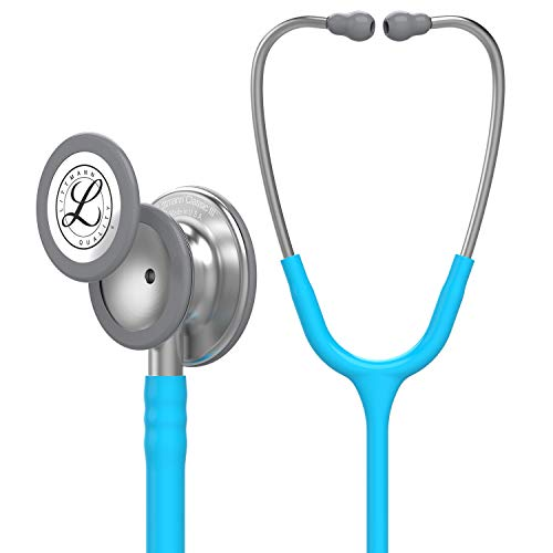 3M Littmann 5835 Classic III Stethoscope Stainless Steel Finish Chestpiece, 27 Inch, Turquoise Tube