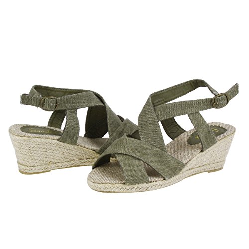 Damara Dames Geweven Slipsole Strappy Open-teen Sandalen Legergroen