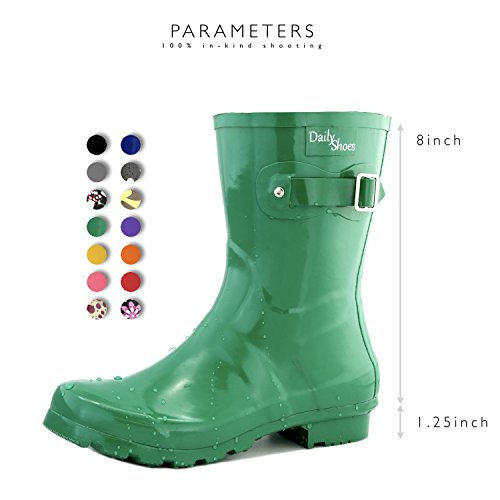 Green Rainboots Mid Rain Buckle DailyShoes Round Hunter Toe Women's Ankle High Calf vpqHTwqP