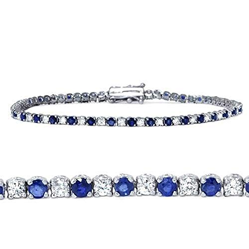 3ct Blue Sapphire & Diamond Genuine Tennis Bracelet 14K White Gold
