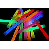 25- 6 Inch 15mm Assorted Glow Stick Necklace W/lanyards