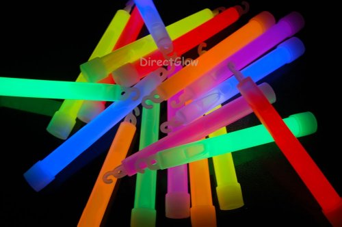 Set of 6 Assorted Jumbo 6 Inch 12 Hour Safety Glow Light Sticks