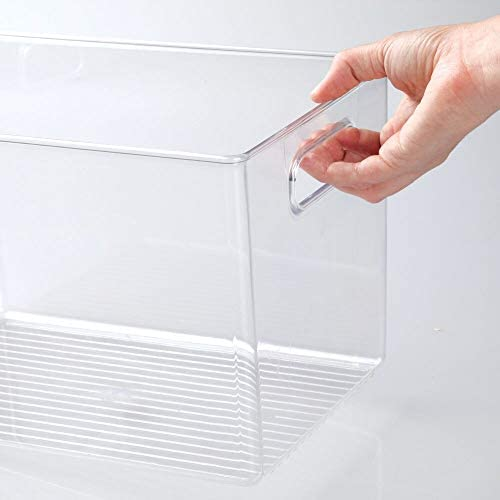 """41 CXkmJphL. AC mDesign Deep Plastic Home Storage Organizer Bin for Cube Furniture Shelving in Office, Entryway, Closet, Cabinet, Bedroom, Laundry Room, Nursery, Kids Toy Room - 12"""" x 8"""" x 7.75"""" - 4 Pack - Clear    These plastic Storage Boxes by mDesign are perfect for keeping your home organized and clutter-free. They offer roomy space for a variety of items and they fit perfectly into cube storage shelving units. Slide these into the cubbies and you are ready to get organized! The open top makes it easy to see what is stored inside and quickly grab what you need. The integrated handles make moving the cube baskets on and off of shelves easy."""