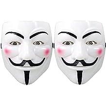 Hacker Mask for Costume Kids - 2 Pack White Anonymous Face Masks for Halloween V for Vendetta DIY Toy Head Mask