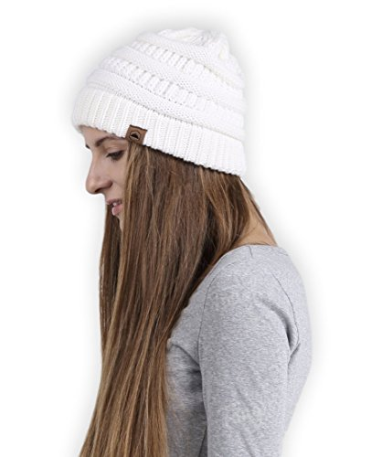 Womens Chunky Cable Knit Beanie by Tough Headwear - Winter Beanie Hats for Warmth & Style (White)