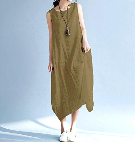 Women Loose Green Sleeveless Big Linen O Dresses Swing Neck Army Maxi Summer Long Vincy Show Beach 1wxC5F1q