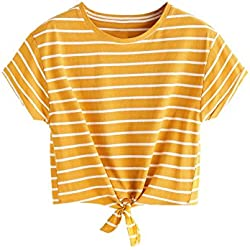 ROMWE Women's Knot Front Long Sleeve Striped Crop Top Tee T-shirt, Yellow & White, Medium / US 4-6