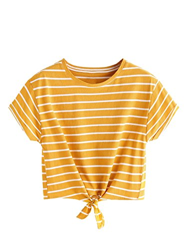 ROMWE Women's Knot Front Long Sleeve Striped Crop Top Tee T-shirt, Yellow & White, Small / US 0-2