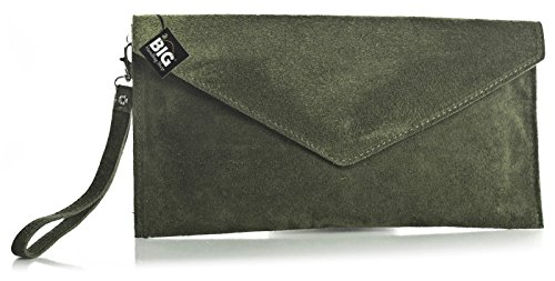 Big Handbag Shop Womens Real Italian Suede Leather Envelope Evening Clutch Party Wedding Bag with Charm with Charm (108V Medium Olive)