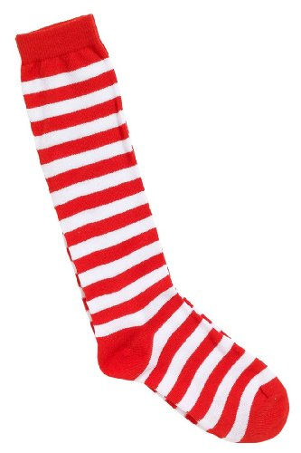 [Home & Leisure Online Women's Stripe Socks Clown Circus Fancy Dress Wheres Wally One Size Red/White] (Wheres Wally Fancy Dress Kids)