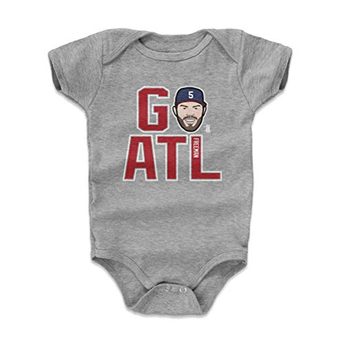 500 LEVEL Atlanta Baseball Baby Clothes, Onesie, Creeper, Bodysuit - 6-12 Months Heather Gray - Freddie Freeman GO ATL R WHT