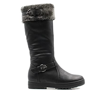 Stylish & Comfort Women's Knee High Zipper Up Winter Boots With Fur Lined Collar and Interior Warm Shoes