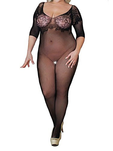 Curbigals Sexy Women Lingerie Plus Size Crotchless Bodystocking Long Sleeve