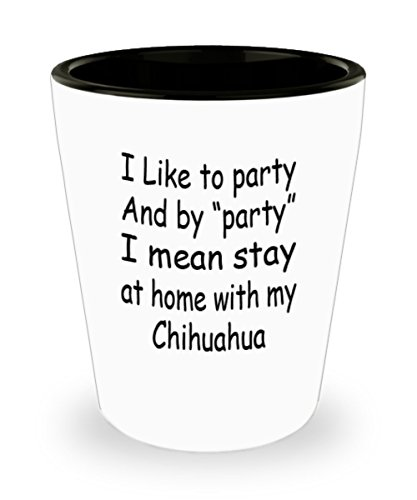 (My Dog Chihuahua Gifts White Ceramic Shot Glass - I Mean Stay At Home - Best Inspirational Gifts and Sarcasm Pet)
