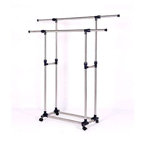hangers,Bokeley Heavy Duty Double Rail Adjustable Telescopic Rolling Clothes Garment Rack Clothes Rack W' Brake Wheels