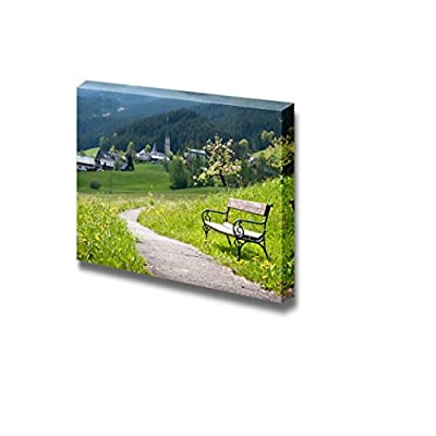 Bench and a Curved Country Road in a Rural Landscape in Springtime Wall Decor, Classic Artwork, Lovely Expert Craftsmanship