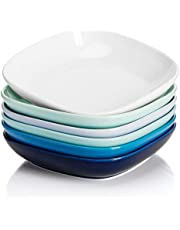 Sweese 121.003 Porcelain Square Salad Pasta Bowls - 30 Ounce - Set of 6, Cool Assorted Colors