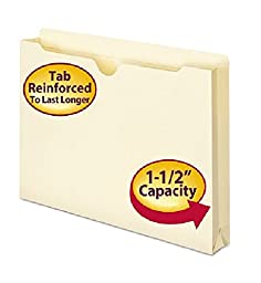 Smead 76540 - File Jackets, Two-Ply Top, 1 1/2 Inch Expansion, Legal, 11 Point Manila, 50/Box-SMD76540