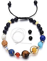 Women Stone Bead Charm Bracelet Universe Galaxy The Eight Planets in The Solar System Guardian Star Bracelets