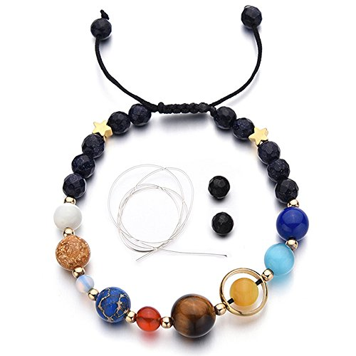 (MENGLINA Women Stone Bead Charm Bracelet Universe Galaxy The Eight Planets Nine Planets in The Solar System Guardian Star Bracelets)