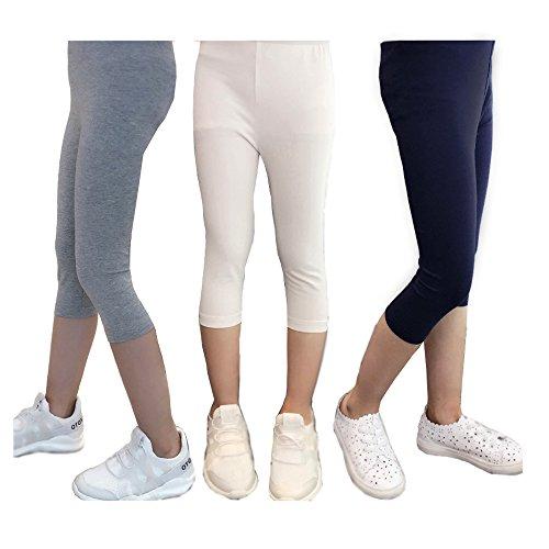 Bear Mall 3-Pack Capris Leggings Girls/Girls' Cotton Capri Crop Summer Leggings for School Play