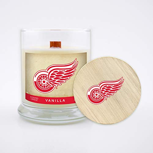 Detroit Red Wings 8oz Vanilla Scented Soy Wax Candles w/ Wood Wick & Lid