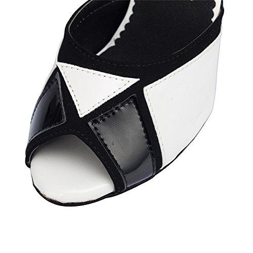 Baile de De Imitación Interior Zapatos De Zapatos Lombardía Damas 8 Cuero De De De Cm Blanco UxqaSg