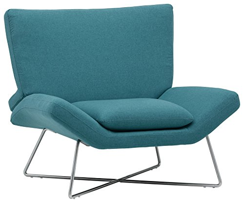 (Rivet Farr Lotus Mid-Century Modern Accent Lounge Chair, 39.8'W, Aqua)