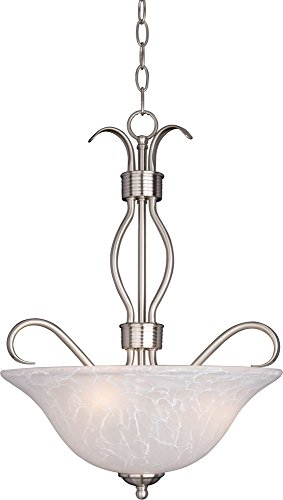 (Maxim 10121ICSN Basix 3-Light Invert Bowl Pendant, Satin Nickel Finish, Ice Glass, MB Incandescent Incandescent Bulb , 8.5W Max., Wet Safety Rating, 3000K Color Temp, Metal Rod + Clear Gl Shade Material, 1190 Rated Lumens)