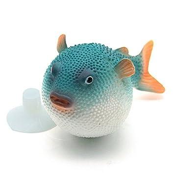 Pez globo artificial para acuario pecera estanque de agua con ventosa de color azul de OPEN BUY: Amazon.es: Hogar