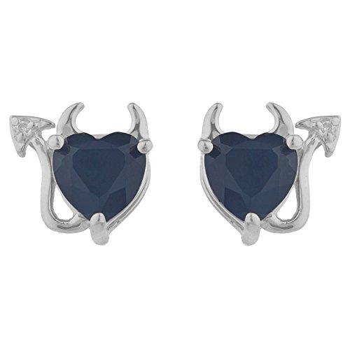 Genuine Black Onyx & Diamond Devil Heart Stud Earrings .925 Sterling Silver Rhodium Finish -